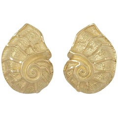 Tiffany & Co. Yellow Gold Shell Earrings