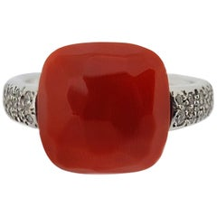 White Gold Faceted Salmon Coral and Diamond Ring