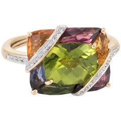 Bellarri Multi Gemstone Diamond Ring Estate 18 Karat Yellow Gold