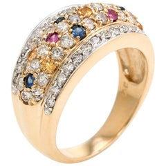 Diamond Colored Sapphire Dome Band Ring Vintage 14 Karat Yellow Gold