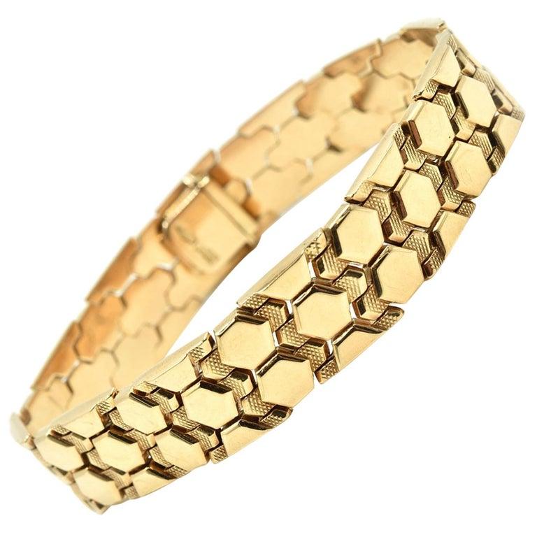 14 Karat Yellow Gold Hexagon Arrow Link Bracelet