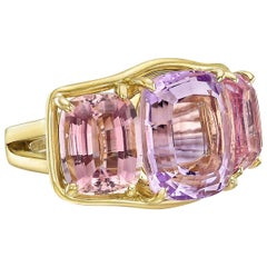 Verdura Kunzite Pink Tourmaline Three-Stone Ring