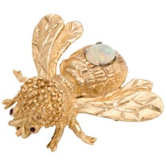 Bumble Bee Brooch Pin Opal Garnet Vintage 14 Karat Yellow Gold Insect Jewelry