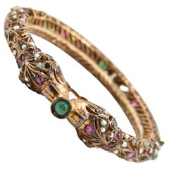 Vintage Emerald, Ruby and Pearl Bracelet 14 Karat Yellow Gold