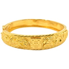 Textured 24k Yellow Gold Oriental Dragon Motif Hinged Bangle Bracelet 27.42 Gram