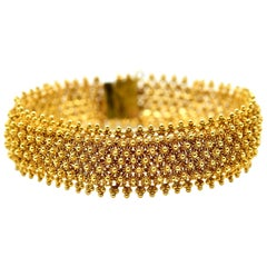 Indian Style Bracelet Made in 14 Karat Yellow Gold, 26.8 Grams