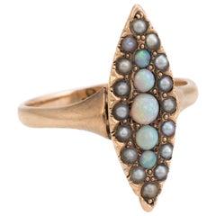 Antique Victorian Navette Pinky Ring Opal Seed Pearls Vintage 14 Karat Gold