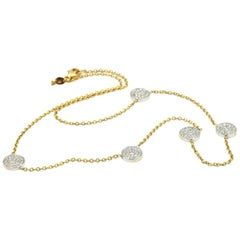 0.58 Carat Round Diamond 18 Karat Two-Tone Station Necklace