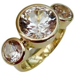 Michael Kneebone White Sapphire 18 Karat Gold Three-Stone Leah Ring