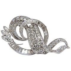 8.00 Carat Diamonds Platinum Art Deco Brooch