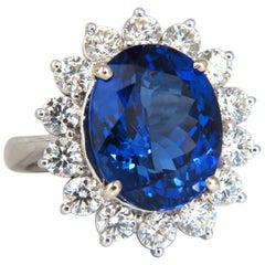 GIA Certified 11.23 Carat Natural Blue Tanzanite Diamonds Ring 14 Karat Halo