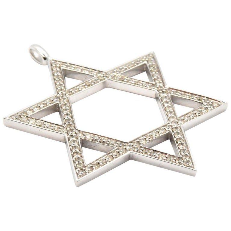 Star of David 1.25 Carat Diamond 14 Karat White Gold Pendant
