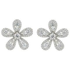 Flower Motif Diamond Stud Earrings