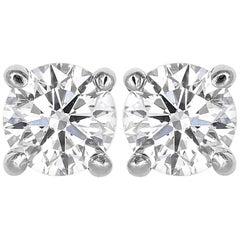 14 Karat White Gold 1.45 Carat Diamond Stud Earrings