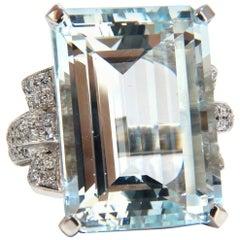 GIA 37.15 Carat Natural Emerald Cut Aquamarine Diamonds Ring 14 Karat Vivid