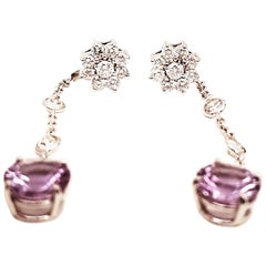 14 Karat Diamond Cluster Studs Detachable Diamond Amethyst Drop