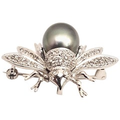 14 Karat White Gold and Sterling Silver Faux Pearl and Diamond Bee Brooch