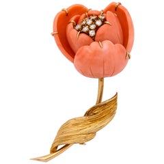 Van Cleef & Arpels Coral Diamond Gold Flower Brooch