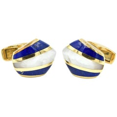 14 Karat Yellow Gold and Mother-of-Pearl with Lapis Inlay Cufflinks
