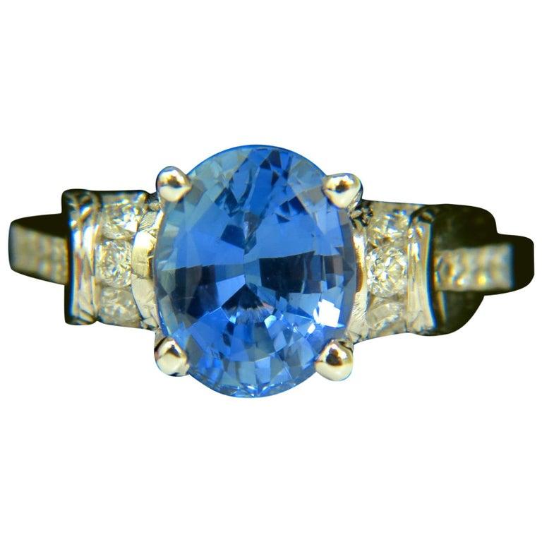 GIA No Heat 4.75 Carat Natural Sapphire Diamond Ring A+ Cornflower Unheated