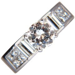 GIA Certified 1.02ct & 1.10ct round diamond baguette princess ring e/vs2 18kt