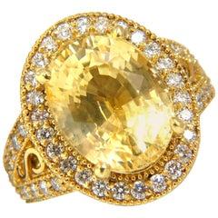 10.46 Carat GIA Natural No Heat Yellow Sapphire Diamond Ring 18 Karat Unheated