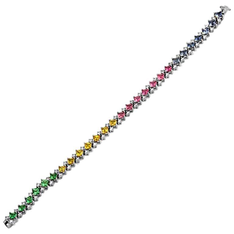 10.41 Carat Multi Gemstones and 2.10 Carat Diamonds 18 Karat White Gold Bracelet