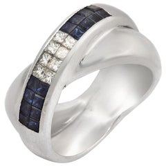 18k Gold Invisible Setting 0.43 Ct Diamonds 0.85 Ct Blue Sapphire Ring