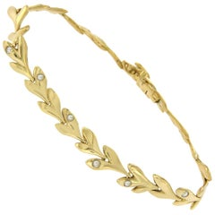 H. Stern 18 Karat Yellow Gold with Rose Cut Diamonds Leaf Bracelet