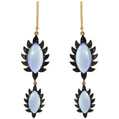 Meghna Jewels Claw Double Drop Earrings Rainbow Moonstone and Black Diamonds