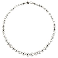 Estate Tiffany & Co. Graduated Bead Necklace Sterling Silver Designer Jewelry