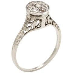 Belais Round Diamond Cluster Ring Vintage 18 Karat White Gold