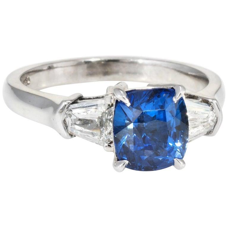 A. Jaffe Sapphire Diamond Engagement Ring Estate 18 Karat White Gold