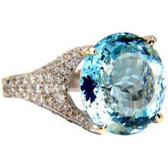 GIA Certified 16.65ct Natural Aquamarine & diamonds ring Raised Crown 18kt