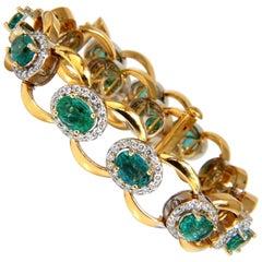 13.10 Carat Bright Vivid Natural Emerald Diamonds Cluster Link Bracelet 14 Karat