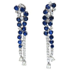 15.65CT Natural Sapphire Diamonds Earrings 18K Chandelier Cluster Dangle
