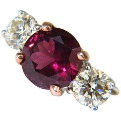 7.33 Carat Natural Vivid Red Rubellite Diamonds Ring Classic Three 14 Karat