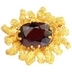 GIA 32.22 Carat Natural Spessartite Garnet 3D Ocean Coral / Rough Nugget Pin