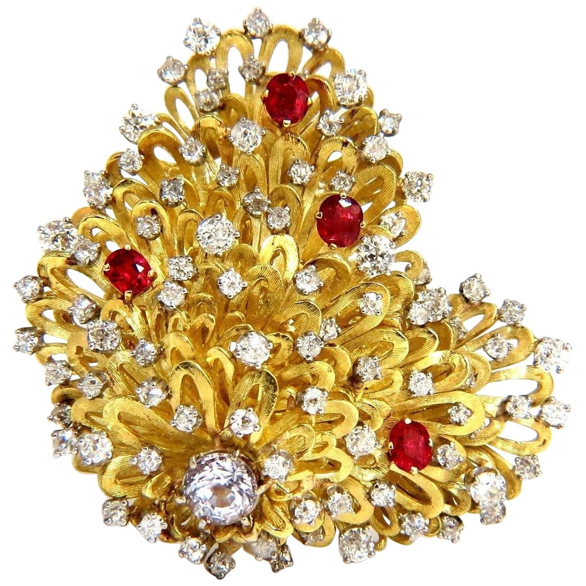 Erwin Pearl 8.00 Carat Natural Diamonds and Red Spinel Brooch Pin 18 Karat