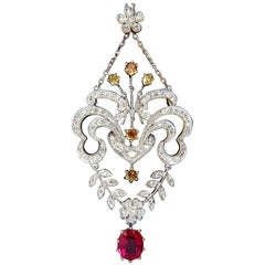 GIA 2.72 Carat Natural No Heat Red Ruby Yellow Diamond Necklace Belle Époque