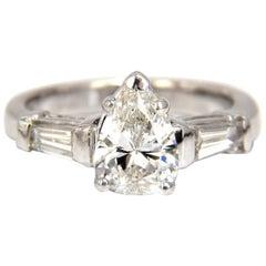 GIA 1.74 Carat Natural Pear Brilliant Diamond Ring Classic Three Engagement