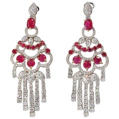 11.20 Carat Natural Red Ruby Diamond Dangling Chandelier Earrings Omega 18 Karat