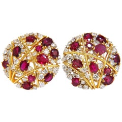 13.20 Carat Natural Red Ruby Diamond Cocktail Cluster Earrings Mod Deco Strip