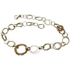 Sapphire Briolettes 18 Karat Gold Organic Link Chain Necklace Choker Modern