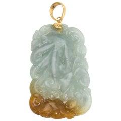 Large Carved Jade Pendant Vintage 14 Karat Yellow Gold