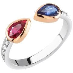 Two-Tone Gold Diamond Ruby Sapphire Ring Weighing 1.45 Carat