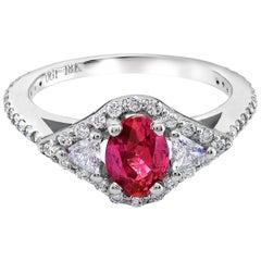 Burma Ruby Diamond Cluster Cocktail Ring 18 Karat White Gold