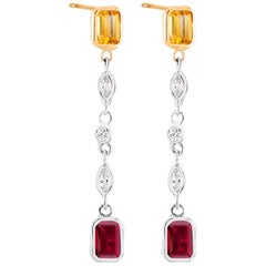 Two-Tone Drop Earring Diamond Ruby Yellow Sapphire