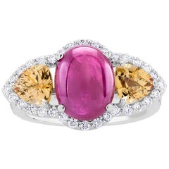Cabochon Ruby and Yellow Sapphire Diamond Cluster Cocktail Ring