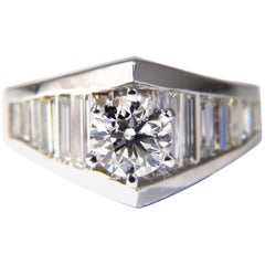 GIA Certified .73ct & 1.50ct round diamond baguette ring excellent cut f/vvs1